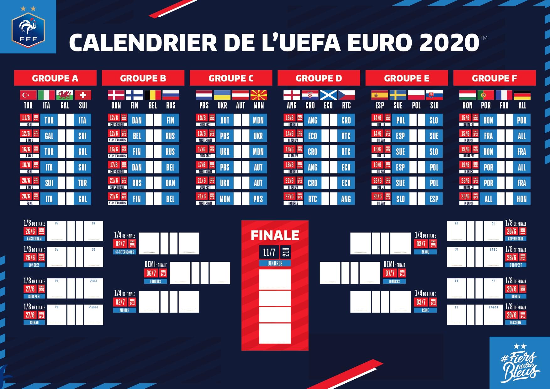 Euro 2020 : découvrez le calendrier détaillé de tous les matchs